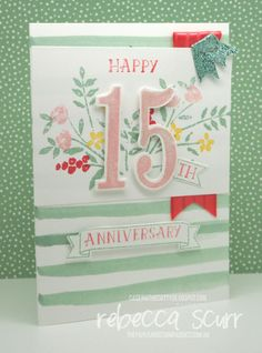 CTC61 - Caseing the Catty Design Team member, Number of Years, Large Numbers framelits, Birthday Bouquet DSP - Rebecca Scurr - Stampin' Up! demonstrator - www.facebook.com/thepaperandstampaddict