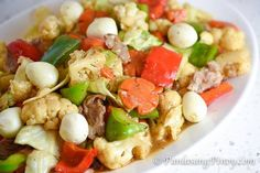 Chopsuey with Quail Eggs is a version of Chopsuey (or Chop Suey) that makes use of thin slices of pork and boiled quail eggs along with vegetables.