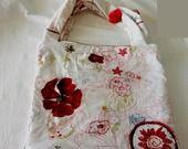sac véritable tissu Kenzo brodé, appliqué fait main coquelicot en organza sur les anses