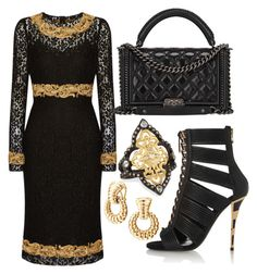 black & gold by carolineas on Polyvore featuring polyvore, fashion, style, Dolce&Gabbana, Balmain, Chanel, Armenta and John Hardy
