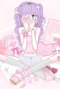 ✮ ANIME ART ✮ anime. . .pastel. . .clothes. . .cute. . .kawaii