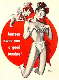 1947 ... Jan-tan!  vintage Jantzen swimwear / bathing suit ad
