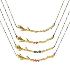 Personalized Gold Branch Family Necklace | Birthstone Necklace | UncommonGoods