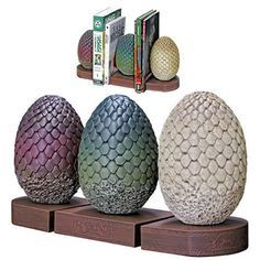It's The Bookends - Game Of Thrones - Dragon Egg Bookends. Daenerys Targaryen is given three petrified dragon eggs as a gift for her wedding to Khal Drogo. Dark Horse has skillfully replicated all thr