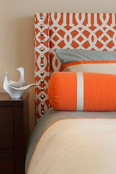 Grey & orange - could be an interesting combo for bedroom
