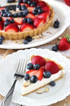 Berry Almond Tart recipe - a no bake dessert that's perfect for summer!