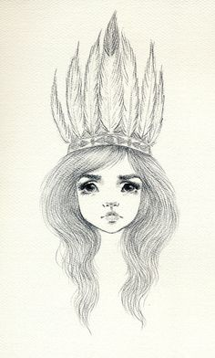 Feather Cap  original drawing by Variations on Etsy, $40.00