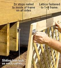 Creating Deck Storage and Hatches If you're not using the space under your deck, you are seriously missing out. Get organized outdoors with our deck storage solutions. Building A Deck, Building Design, Under Deck Storage, Extra Storage, Unique Garden, Deck Skirting, House Skirting, Laying Decking, Under Decks