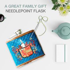 """Order your own Custom Family Crest Needlepoint Flask for that one-of-a-kind gift idea. ◽◽◽◽◽◽◽◽ Our Flasks are 4"""" wide x 4.5"""" high x 1.25"""" deep. ◽◽◽◽◽◽◽◽ The flask cover is needlepointed by hand and made-to-order. You can personalize any of our designs. We use 100% genuine leather for the trim and a 5 oz stainless steel flask. 😲 Each flask includes a FREE monogram. 😲 #needlepointflask #customflask #flaskcollector #originalgiftsforhim #giftforhim Free Monogram, Family Crest, Family Gifts, Flasks, Needlepoint, Gifts For Him, Coin Purse, Stainless Steel, Deep"""