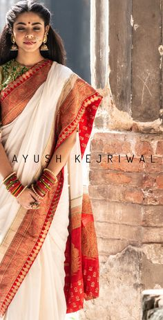 bengali bride makeup style Benarsi Saree By Ayush Kejriwal For purchases email me at designerayushkejr o Indian Bridal Outfits, Indian Bridal Fashion, Benarsi Saree, Lehenga, Dress Indian Style, Indian Dresses, Saree Hairstyles, Silk Saree Blouse Designs, Sari Dress