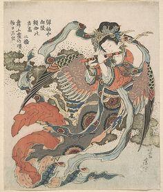 Mystical Bird (Karyôbinga)  Katsushika Hokusai  (Japanese, 1760–1849)  Period: Edo period (1615–1868) Date: 1820–33 Culture: Japan Medium: Polychrome woodblock print (surimono); ink and color on paper