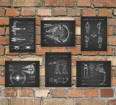 Ultimate Star Wars Print Set Of 6 - Star Wars Spacecraft - X-Wing - TIE Fighter - AT AT - Boba Fett - Star Wars Decor - Science Fiction Gift