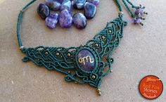 Amethyst Macrame Necklace with engraved scorpio sign macrame