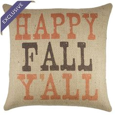 Burlap pillow with a fall-inspired typographic motif. Fall Pillows, Burlap Pillows, Burlap Baby, Decorative Pillows, Happy Fall Y'all, Fall Crafts, Holiday Crafts, Autumn Inspiration, Holidays Halloween