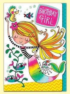 Mermaid Birthday Girl - greeting card by Rachel Ellen Designs