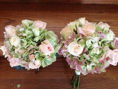 Antique green/pink hydrangea, blush roses, cream tea roses bridesmaid bouquet  www.myfloralimpressions.com