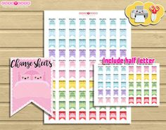 Time for Change Sheets Kawaii printable stickers - Cute planner stickers for your Erin condren or Happy planner. Functional printables.