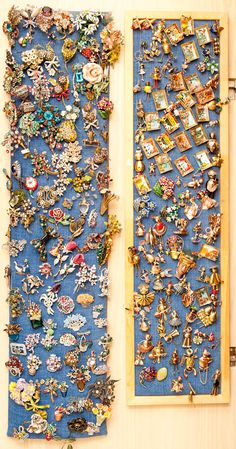 brooch/pin collection - I envy this collection; what great pins!