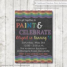 Chalkboard Rainbow Birthday Party Invitation - Rainbow or Art Party - Digital Design or Printed Invitations - FREE SHIPPING