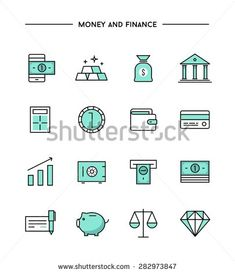 Stock Vector Illustration: set of thin line flat money and finance icons
