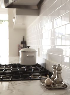 White Kitchen With Subway Tile Backsplash Porchlight Interiors Tiles