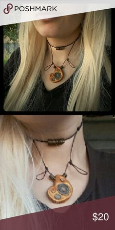 SOLD..Tie on Choker Handmade clay bead with recycled paper inside. Metal accents.  Boho.  Sorry:( Sold locally. Can commission similar  if interested. Jewelry Necklaces