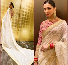Saree Blouse Back Designs 2020 Inspire By Bollywood Celebs That You Have To Give A Shot Saree Dress, Saree Blouse, Indian Dresses, Indian Outfits, Pakistani Dresses, Red Saree Wedding, Deepika Padukone Saree, Sari Blouse Designs, Saree Look