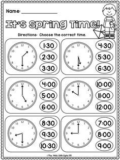 FREE! It's Spring Time! Telling Time to the Hour and Half Hour!