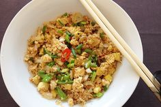 """After my attempt to Prepare Cauliflower """"Rice"""", I froze it in small portions in a zip lock bag. A week later, I defrosted the cauli to make a first attempt at Cauliflower Fried Rice. For this recipe, complete all the prep first then work quickly for best results. You can … Continue reading"""