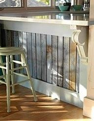 Tired of kick marks on your bar wall space? Take old pallets or wooden slats and you now have a new protected area. We did ours in slate. Solved that problem.