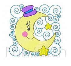 Moon Block 8 - 4x4 | What's New | Machine Embroidery Designs | SWAKembroidery.com Fun Stitch