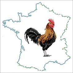 Le coq gaulois: Kit broderie point de croix - Collection Planete Mauve