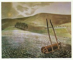 Downs in Winter, Eric Ravilious vintage print 1983 ready mounted SUPERB