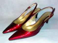 Katie & Kelly Shoes ~ Red Patent Leather Sling Back Kitten Heels ~ Sz 7.5 M B #KatieKelly #Slingbacks