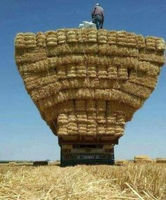 Inverted straw pyramid on truck