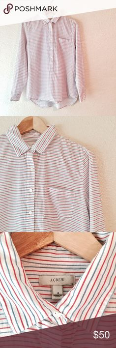 J Crew red white & blue striped cotton shirt 4 EUC J Crew Red white and blue striped shirt. This 100% cotton shirt buttons down halfway and has a pocket on the left side. Nice and light weight, perfect for summer! Excellent used condition, no flaws. Size 4. J. Crew Tops Button Down Shirts