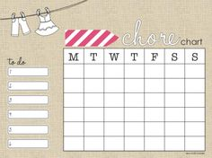 Free Chore Chart download