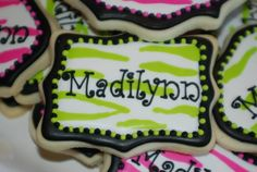Lime green zebra striped sugar cookie.
