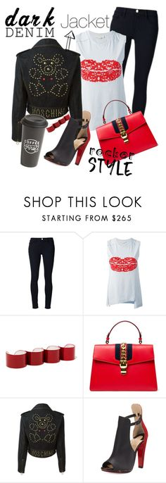 """Dark denim"" by jackynajera1 ❤ liked on Polyvore featuring Frame Denim, STELLA McCARTNEY, Maison Margiela, Gucci, Moschino, Christian Louboutin, The Created Co., blackandwhite, rockerchic and denimjackets"