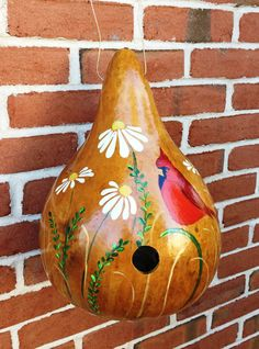 Handpainted Gourd Birdhouse with Cardinal and by HandpaintedByMimi