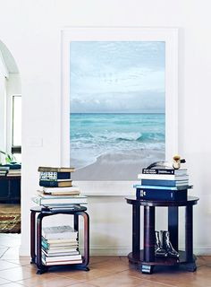 "Beach Photography - Ocean sea summer - Aqua blue beach - Seashore horizon - Portrait Wall Art 8x12 Photograph - ""Restless"""