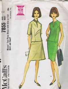 "2 PC Dress VINTAGE 1960s Sewing Pattern 7855 MCCALLS SIZE 16 BUST 36 HIP 38"" CUT"