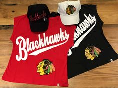 Tees and caps for the ladies! Ladies 47 Brand Hats ($30 each) and 47 Brand Tees, ($50 each) #BlackhawksStore