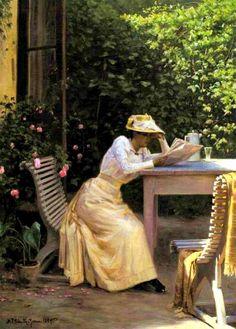 'A lady in the garden while reading' Niels Frederik Schiottz-Jensen  (1855 - 1941)