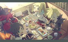 Lillie, Sun, Gladio and Incineroar. Gladio Pokemon, Pokemon Movies, Pokemon Pocket, First Pokemon, Pokemon People, Pokemon Ships, Pokemon Special, Pokemon Fan Art, Pokemon Games
