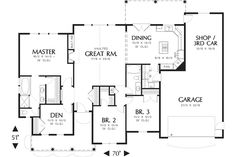Craftsman Style House Plan - 3 Beds 2 Baths 1873 Sq/Ft Plan #48-101 Floor Plan - Main Floor Plan - Houseplans.com