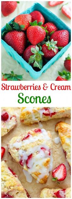 My favorite scone recipe loaded with fresh strawberries and topped with a creamy vanilla glaze! Wanna know what a really good idea sounds like? Of course you do! These Strawberries and Cream Scones. M