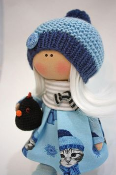 Nursery Art Doll Collection Cloth Doll Fabric Muñecas Rag Bambole Doll Textile Handmade Doll Tilda Poupée Doll Winter Blue Doll by Ksenia __________________________________________________________________________________________ Hello, dear visitors! This is handmade cloth doll