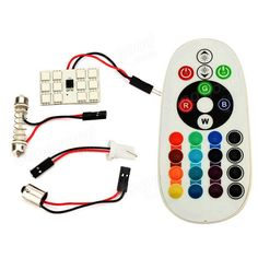 [US$8.47] 1 Pair RGB Remote Control 5050 Car LED Light Interior Room Lamp 12SMD 36MM  #12smd #36mm #5050 #control #interior #lamp #light #pair #remote #room