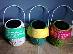 """Solar power lantern.End of the year teacher gift. """"Thanks for making this year so deLIGHTful!""""."""